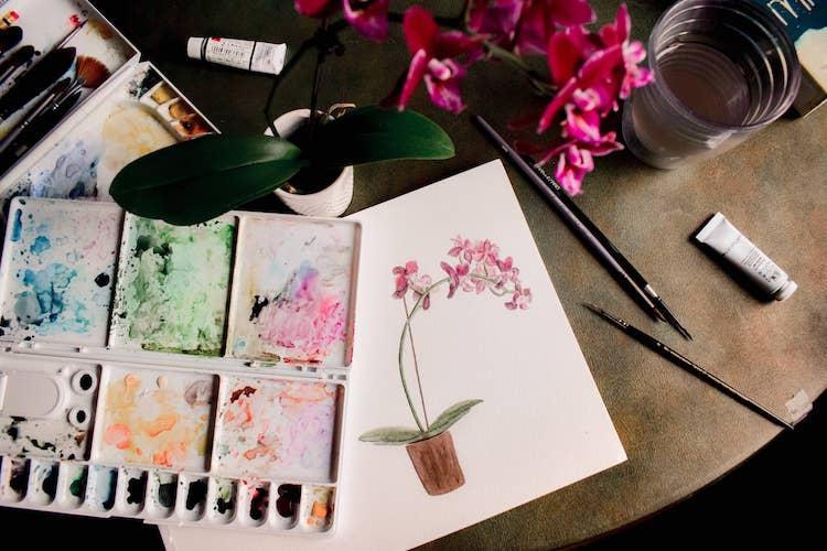 Op de foto staat een orchidee met daarnaast een A4 met daarop een orchidee geschilderd in waterkleur. Naast het A4-tje ligt er een pallette met waterkleuren en wat pensels.
